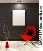 Red armchair with pillow and white blank on the black wall in minimalism interior. Living room