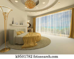 The round bed in a luxurious interior with a large window