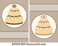 two vector retro wedding invitation with big wedding cake