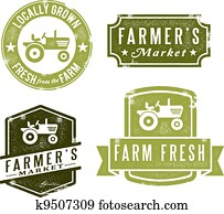 Vintage Fresh Farmers Market Stamps