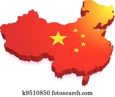 3d, landkarte, von, china, mit, fahne