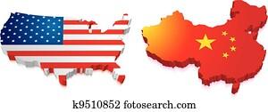 3d, landkarte, von, china, und, uns, mit, fahne