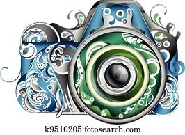 abstrakt, fotoapperat