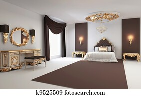Baroque bedroom with golden furniture in royal interior Residence