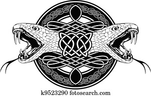 snake and Celtic patterns