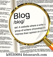 Blog Definition Magnifier Showing Website Blogging Or Blogger