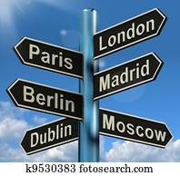 London Paris Madrid Berlin Signpost Shows Europe Travel Tourism And Destinations