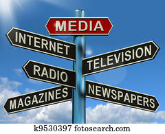 Media Signpost Showing Internet Television Newspapers Magazines