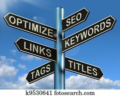 Seo Optimize Keywords Links Signpost Showing Website Marketing Optimization