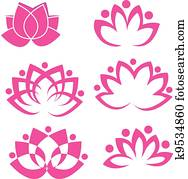 Set of lotus flowers logo vector