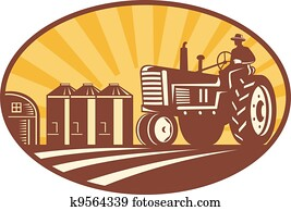 landwirt, fahren, altmodisch, traktor, früher, holzschnitt