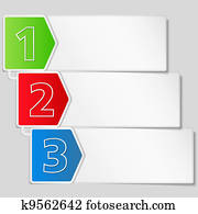Paper banner with three steps