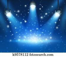 Glowing Blue Spotlights Background
