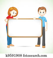 Happy 3d Couple in Vector holding Placard