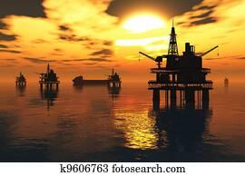 Sea Oil Platform and Tanker