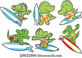 Surfing Alligator Summer Vector Set