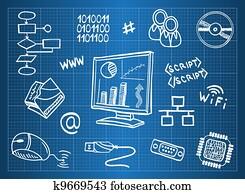blaupause, von, computerhardware, und, informationstechnologie, symbole