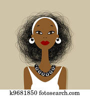 Black woman face for your design