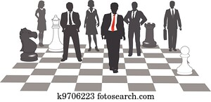 Business people chess team win game