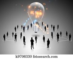 Teamwork with idea light bulbs
