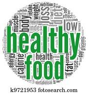Healthy food concept in tag cloud