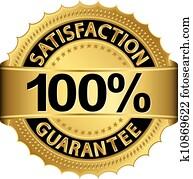 100 prozent, befriedigung, garantie