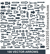 100 vector arrows