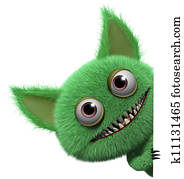 3d cartoon furry gremlin