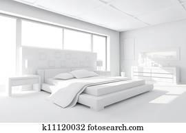 3d clay render of a modern bedroom