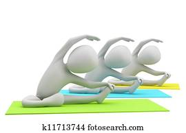3d group of people doing yoga exercises. 3d image. On a white background.