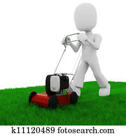 3d man cutting the grass with a push lawn mowe