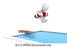3d man jumping in a swimming pool