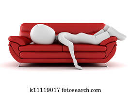 3d man tired, sleeping on the couch