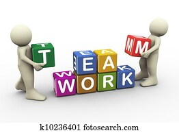 3d people team work
