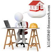 3d white business person dreaming in his office with his new home with a computer on the table. 3d image. Isolated white background.