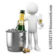 3D white people. Bottle of champagne in bucket