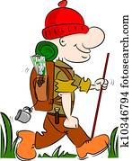A cartoon hiker