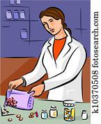 A pharmacist dispensing pills