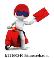 A postman delivering mail. Isolated