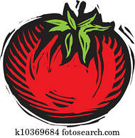 A red tomato on a white background