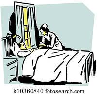 A vintage illustration of a nurse tending to a patient