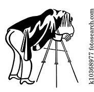 A vintage illustration of a photographer
