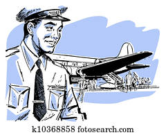 A vintage illustration of a pilot and airplane