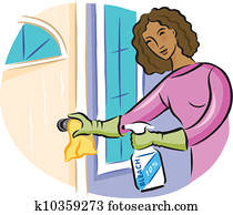 A woman cleaning a door knob with bleach disinfectant spray
