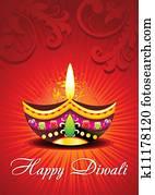 abstract diwali card design
