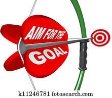 Aim for the Goal Bow and Arrow Bullseye Target
