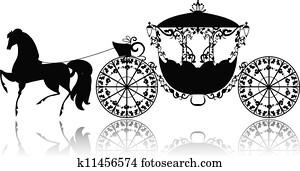 altmodisch, silhouette, von, a, pferdekutschen
