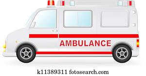 ambulance car silhouette on white