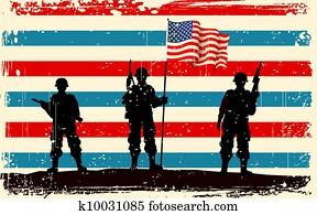 amerikanisch, soldat, stehen, mit, amerikaflagge