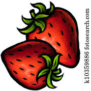 An illustration of two strawberries